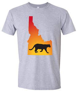 Short Sleeve T-Shirt Idaho Athletic Heather Mountain Lion Vibrant Design High Quality Tight Knit Ring Spun Low Maintenance Cotton Printed With The Newest Available Color Transfer Technology