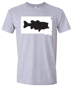 Short Sleeve T-Shirt South Dakota Athletic Heather Large Mouth Bass Vibrant Design High Quality Tight Knit Ring Spun Low Maintenance Cotton Printed With The Newest Available Color Transfer Technology