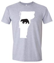 Load image into Gallery viewer, Short Sleeve T-Shirt Vermont Athletic Heather Black Bear Vibrant Design High Quality Tight Knit Ring Spun Low Maintenance Cotton Printed With The Newest Available Color Transfer Technology