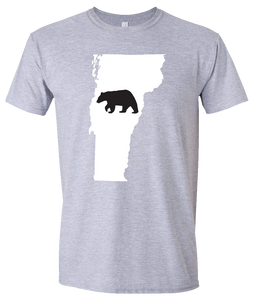 Short Sleeve T-Shirt Vermont Athletic Heather Black Bear Vibrant Design High Quality Tight Knit Ring Spun Low Maintenance Cotton Printed With The Newest Available Color Transfer Technology
