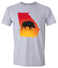 Load image into Gallery viewer, Short Sleeve T-Shirt Georgia Athletic Heather Wild Hog Vibrant Design High Quality Tight Knit Ring Spun Low Maintenance Cotton Printed With The Newest Available Color Transfer Technology