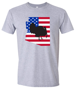 Short Sleeve T-Shirt Arizona Athletic Heather Turkey Vibrant Design High Quality Tight Knit Ring Spun Low Maintenance Cotton Printed With The Newest Available Color Transfer Technology