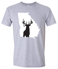 Load image into Gallery viewer, Short Sleeve T-Shirt Georgia Athletic Heather Whitetail Deer Vibrant Design High Quality Tight Knit Ring Spun Low Maintenance Cotton Printed With The Newest Available Color Transfer Technology