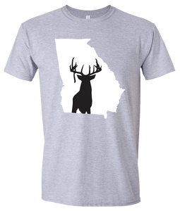 Short Sleeve T-Shirt Georgia Athletic Heather Whitetail Deer Vibrant Design High Quality Tight Knit Ring Spun Low Maintenance Cotton Printed With The Newest Available Color Transfer Technology
