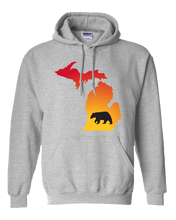 Load image into Gallery viewer, Pullover Hooded Sweatshirt Michigan Athletic Heather Black Bear Vibrant Design High Quality Tight Knit Ring Spun Low Maintenance Cotton Printed With The Newest Available Color Transfer Technology