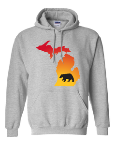 Pullover Hooded Sweatshirt Michigan Athletic Heather Black Bear Vibrant Design High Quality Tight Knit Ring Spun Low Maintenance Cotton Printed With The Newest Available Color Transfer Technology