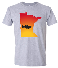 Load image into Gallery viewer, Short Sleeve T-Shirt Minnesota Athletic Heather Large Mouth Bass Vibrant Design High Quality Tight Knit Ring Spun Low Maintenance Cotton Printed With The Newest Available Color Transfer Technology