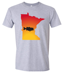 Short Sleeve T-Shirt Minnesota Athletic Heather Large Mouth Bass Vibrant Design High Quality Tight Knit Ring Spun Low Maintenance Cotton Printed With The Newest Available Color Transfer Technology