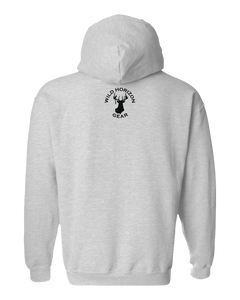 Pullover Hooded Sweatshirt North Dakota Athletic Heather Mule Deer Vibrant Design High Quality Tight Knit Ring Spun Low Maintenance Cotton Printed With The Newest Available Color Transfer Technology