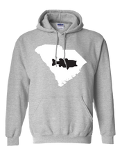 Load image into Gallery viewer, Pullover Hooded Sweatshirt South Carolina Athletic Heather Large Mouth Bass Vibrant Design High Quality Tight Knit Ring Spun Low Maintenance Cotton Printed With The Newest Available Color Transfer Technology