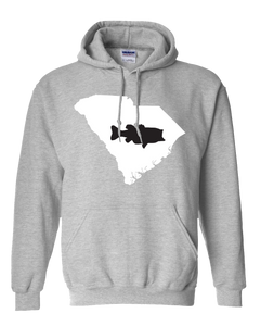 Pullover Hooded Sweatshirt South Carolina Athletic Heather Large Mouth Bass Vibrant Design High Quality Tight Knit Ring Spun Low Maintenance Cotton Printed With The Newest Available Color Transfer Technology