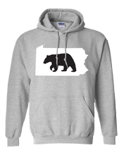 Load image into Gallery viewer, Pullover Hooded Sweatshirt Pennsylvania Athletic Heather Black Bear Vibrant Design High Quality Tight Knit Ring Spun Low Maintenance Cotton Printed With The Newest Available Color Transfer Technology
