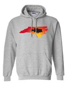Pullover Hooded Sweatshirt North Carolina Athletic Heather Large Mouth Bass Vibrant Design High Quality Tight Knit Ring Spun Low Maintenance Cotton Printed With The Newest Available Color Transfer Technology
