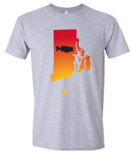 Load image into Gallery viewer, Short Sleeve T-Shirt Rhode Island Athletic Heather Large Mouth Bass Vibrant Design High Quality Tight Knit Ring Spun Low Maintenance Cotton Printed With The Newest Available Color Transfer Technology