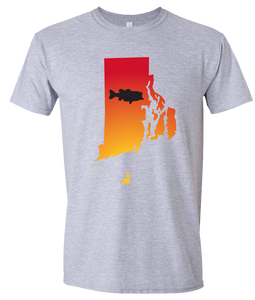 Short Sleeve T-Shirt Rhode Island Athletic Heather Large Mouth Bass Vibrant Design High Quality Tight Knit Ring Spun Low Maintenance Cotton Printed With The Newest Available Color Transfer Technology