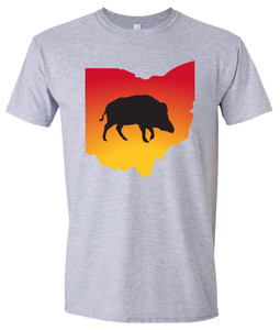 Short Sleeve T-Shirt Ohio Athletic Heather Wild Hog Vibrant Design High Quality Tight Knit Ring Spun Low Maintenance Cotton Printed With The Newest Available Color Transfer Technology