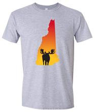 Load image into Gallery viewer, Short Sleeve T-Shirt New Hampshire Athletic Heather Moose Vibrant Design High Quality Tight Knit Ring Spun Low Maintenance Cotton Printed With The Newest Available Color Transfer Technology
