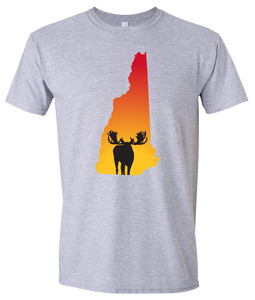 Short Sleeve T-Shirt New Hampshire Athletic Heather Moose Vibrant Design High Quality Tight Knit Ring Spun Low Maintenance Cotton Printed With The Newest Available Color Transfer Technology