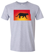 Load image into Gallery viewer, Short Sleeve T-Shirt North Dakota Athletic Heather Mountain Lion Vibrant Design High Quality Tight Knit Ring Spun Low Maintenance Cotton Printed With The Newest Available Color Transfer Technology