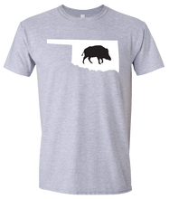 Load image into Gallery viewer, Short Sleeve T-Shirt Oklahoma Athletic Heather Wild Hog Vibrant Design High Quality Tight Knit Ring Spun Low Maintenance Cotton Printed With The Newest Available Color Transfer Technology