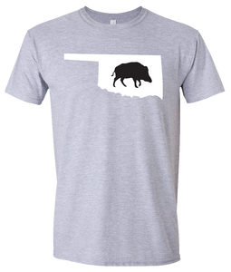 Short Sleeve T-Shirt Oklahoma Athletic Heather Wild Hog Vibrant Design High Quality Tight Knit Ring Spun Low Maintenance Cotton Printed With The Newest Available Color Transfer Technology