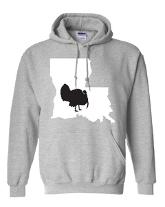Pullover Hooded Sweatshirt Louisiana Athletic Heather Turkey Vibrant Design High Quality Tight Knit Ring Spun Low Maintenance Cotton Printed With The Newest Available Color Transfer Technology