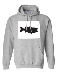Pullover Hooded Sweatshirt Wyoming Athletic Heather Large Mouth Bass Vibrant Design High Quality Tight Knit Ring Spun Low Maintenance Cotton Printed With The Newest Available Color Transfer Technology