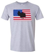 Load image into Gallery viewer, Short Sleeve T-Shirt North Dakota Athletic Heather Turkey Vibrant Design High Quality Tight Knit Ring Spun Low Maintenance Cotton Printed With The Newest Available Color Transfer Technology