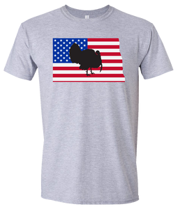 Short Sleeve T-Shirt North Dakota Athletic Heather Turkey Vibrant Design High Quality Tight Knit Ring Spun Low Maintenance Cotton Printed With The Newest Available Color Transfer Technology