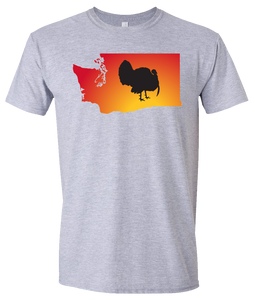 Short Sleeve T-Shirt Washington Athletic Heather Turkey Vibrant Design High Quality Tight Knit Ring Spun Low Maintenance Cotton Printed With The Newest Available Color Transfer Technology