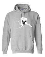 Load image into Gallery viewer, Pullover Hooded Sweatshirt Alaska Athletic Heather Moose Vibrant Design High Quality Tight Knit Ring Spun Low Maintenance Cotton Printed With The Newest Available Color Transfer Technology