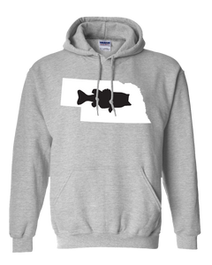Pullover Hooded Sweatshirt Nebraska Athletic Heather Large Mouth Bass Vibrant Design High Quality Tight Knit Ring Spun Low Maintenance Cotton Printed With The Newest Available Color Transfer Technology