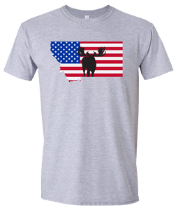 Short Sleeve T-Shirt Montana Athletic Heather Moose Vibrant Design High Quality Tight Knit Ring Spun Low Maintenance Cotton Printed With The Newest Available Color Transfer Technology