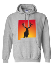 Load image into Gallery viewer, Pullover Hooded Sweatshirt New Mexico Athletic Heather Mule Deer Vibrant Design High Quality Tight Knit Ring Spun Low Maintenance Cotton Printed With The Newest Available Color Transfer Technology