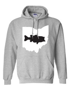 Pullover Hooded Sweatshirt Ohio Athletic Heather Large Mouth Bass Vibrant Design High Quality Tight Knit Ring Spun Low Maintenance Cotton Printed With The Newest Available Color Transfer Technology