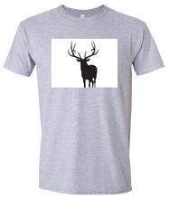 Load image into Gallery viewer, Short Sleeve T-Shirt Colorado Athletic Heather Elk Vibrant Design High Quality Tight Knit Ring Spun Low Maintenance Cotton Printed With The Newest Available Color Transfer Technology