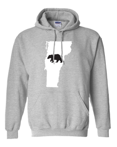 Pullover Hooded Sweatshirt Vermont Athletic Heather Black Bear Vibrant Design High Quality Tight Knit Ring Spun Low Maintenance Cotton Printed With The Newest Available Color Transfer Technology