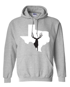 Pullover Hooded Sweatshirt Texas Athletic Heather Mule Deer Vibrant Design High Quality Tight Knit Ring Spun Low Maintenance Cotton Printed With The Newest Available Color Transfer Technology