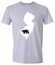 Load image into Gallery viewer, Short Sleeve T-Shirt New Jersey Athletic Heather Black Bear Vibrant Design High Quality Tight Knit Ring Spun Low Maintenance Cotton Printed With The Newest Available Color Transfer Technology