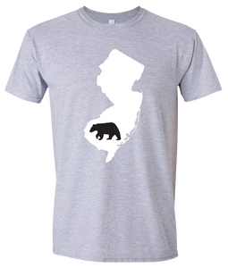 Short Sleeve T-Shirt New Jersey Athletic Heather Black Bear Vibrant Design High Quality Tight Knit Ring Spun Low Maintenance Cotton Printed With The Newest Available Color Transfer Technology
