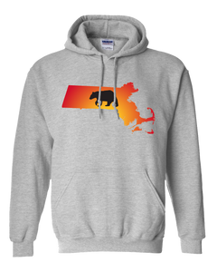 Pullover Hooded Sweatshirt Massachusetts Athletic Heather Black Bear Vibrant Design High Quality Tight Knit Ring Spun Low Maintenance Cotton Printed With The Newest Available Color Transfer Technology