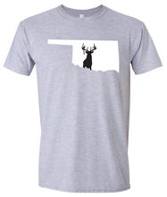 Load image into Gallery viewer, Short Sleeve T-Shirt Oklahoma Athletic Heather Whitetail Deer Vibrant Design High Quality Tight Knit Ring Spun Low Maintenance Cotton Printed With The Newest Available Color Transfer Technology