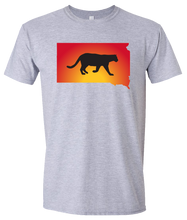 Load image into Gallery viewer, Short Sleeve T-Shirt South Dakota Athletic Heather Mountain Lion Vibrant Design High Quality Tight Knit Ring Spun Low Maintenance Cotton Printed With The Newest Available Color Transfer Technology