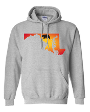 Load image into Gallery viewer, Pullover Hooded Sweatshirt Maryland Athletic Heather Black Bear Vibrant Design High Quality Tight Knit Ring Spun Low Maintenance Cotton Printed With The Newest Available Color Transfer Technology