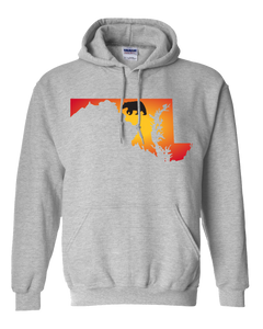 Pullover Hooded Sweatshirt Maryland Athletic Heather Black Bear Vibrant Design High Quality Tight Knit Ring Spun Low Maintenance Cotton Printed With The Newest Available Color Transfer Technology