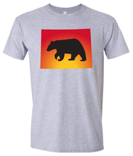 Load image into Gallery viewer, Short Sleeve T-Shirt Wyoming Athletic Heather Black Bear Vibrant Design High Quality Tight Knit Ring Spun Low Maintenance Cotton Printed With The Newest Available Color Transfer Technology