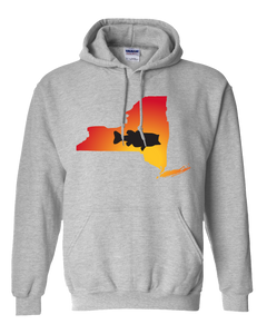 Pullover Hooded Sweatshirt New York Athletic Heather Large Mouth Bass Vibrant Design High Quality Tight Knit Ring Spun Low Maintenance Cotton Printed With The Newest Available Color Transfer Technology