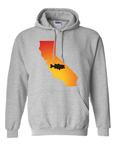 Pullover Hooded Sweatshirt California Athletic Heather Large Mouth Bass Vibrant Design High Quality Tight Knit Ring Spun Low Maintenance Cotton Printed With The Newest Available Color Transfer Technology