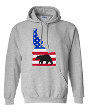 Load image into Gallery viewer, Pullover Hooded Sweatshirt Idaho Athletic Heather Black Bear Vibrant Design High Quality Tight Knit Ring Spun Low Maintenance Cotton Printed With The Newest Available Color Transfer Technology