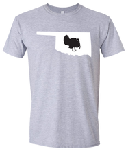 Load image into Gallery viewer, Short Sleeve T-Shirt Oklahoma Athletic Heather Turkey Vibrant Design High Quality Tight Knit Ring Spun Low Maintenance Cotton Printed With The Newest Available Color Transfer Technology